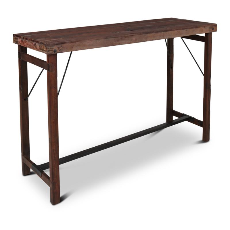 Stoere houten bartafel markttafel klaptafel eettafel staantafel statafel sidetable landelijk stoer industrieel hout metaal 165 x 56 x H108 cm vintage