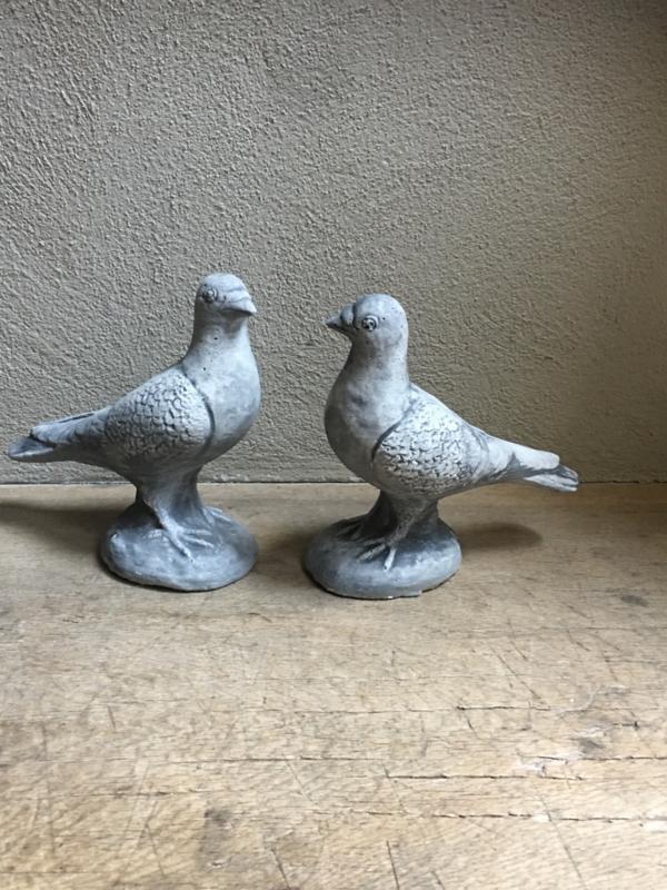 Betonnen duif tuinbeeld beeld beeldje ware grootte landelijk grijs duifje duiven duifjes