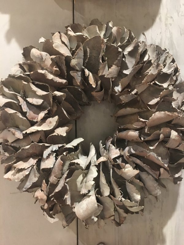 Vergrijsde krans 25 cm vergrijsd grijs Palm landelijk sober stoer mat