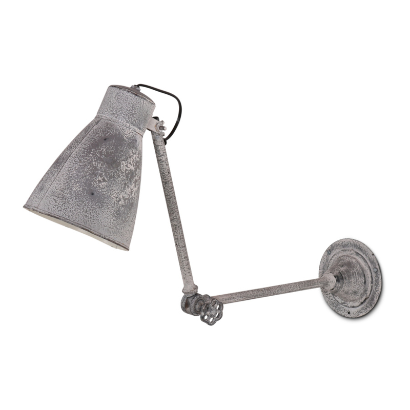 Stoere lichtgrijze grijze metalen wandlamp wandlampje betonlook 40 x 14 x 30 cm landelijk stoer industrieel sober