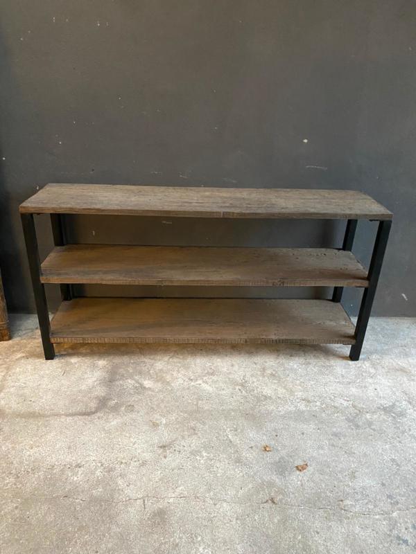 Vergrijsd Houten sidetable sideboard met zwart metalen poten rek schap tvmeubel televisie kast landelijk stoer grijs metaal hout 160 x 40 x H80 cm