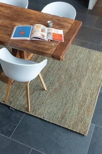 Groot handgewoven 100 % hennep vloerkleed kleed carpet karpet green 140 x 200 cm