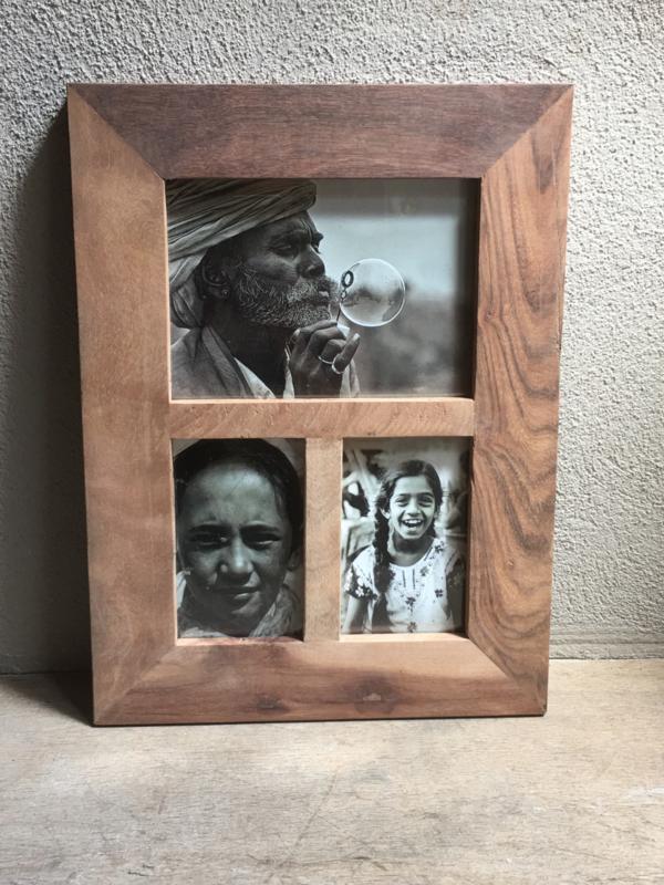 Sloophout sloophouten fotolijst voor 3 foto´s vintage india landelijk