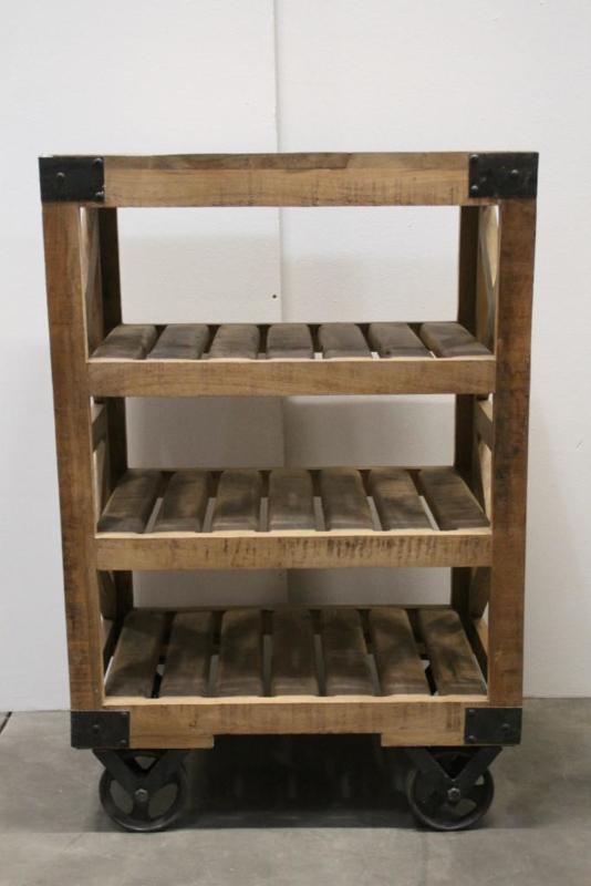 Stoer houten kastje kast landelijk industrieel vintage trolley kar karretje