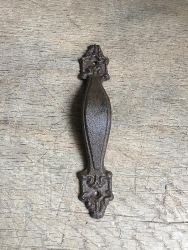 Gietijzeren deurknop langwerpig greep greepje Classic handgreep handvat handgreepje gietijzer bruin landelijk deurknopje