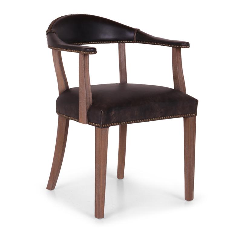 Degelijke stoel houten frame met zwart leren zitting bekleding landelijk stoer vintage industrieel stoelen met armleuning