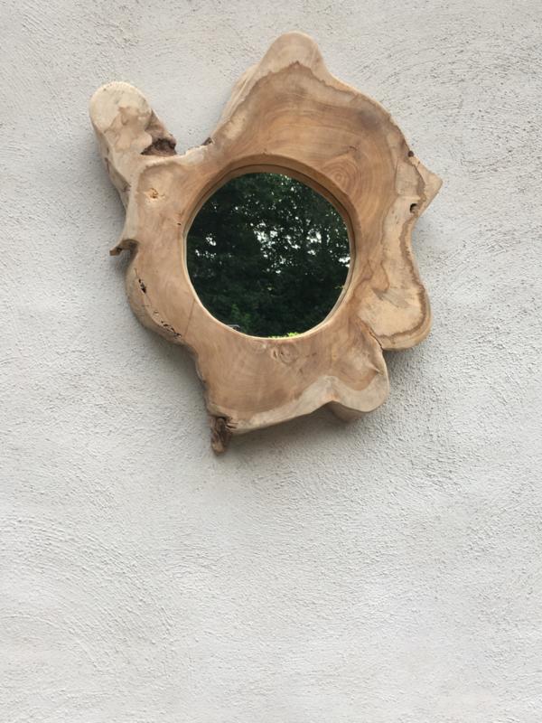Oud houten spiegel wortel Decoratie spiegeltje landelijk wortelhouten wortelhout