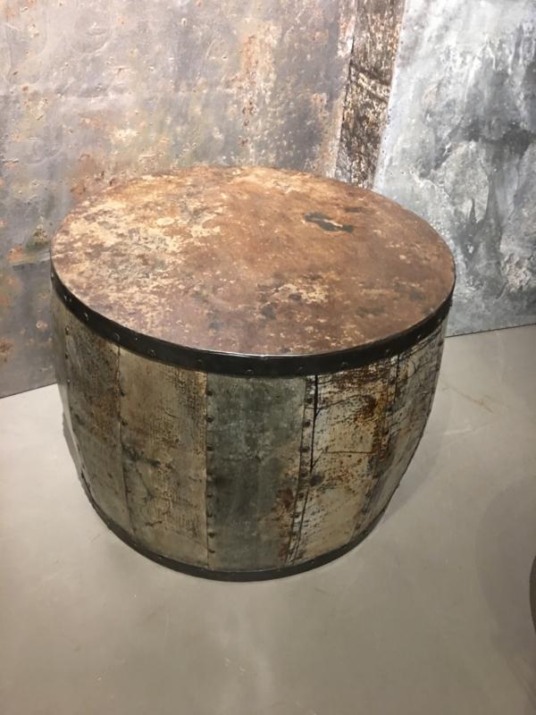 Stoere metalen bijzettafel 55 cm groot bijzettafeltje tafel tafeltje industrieel landelijk stoer metaal ijzer urban grijsbruin