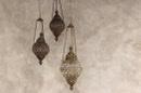 Stoere hanglamp metaal met glas landelijk stoer oosters vintage lantaarn lamp