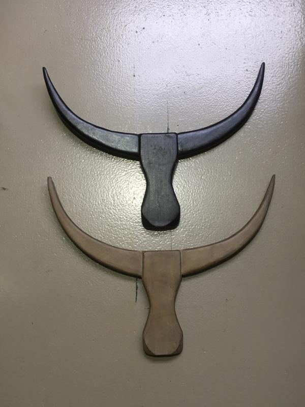 Houten skull wood hout buffel stier wanddecoratie beige