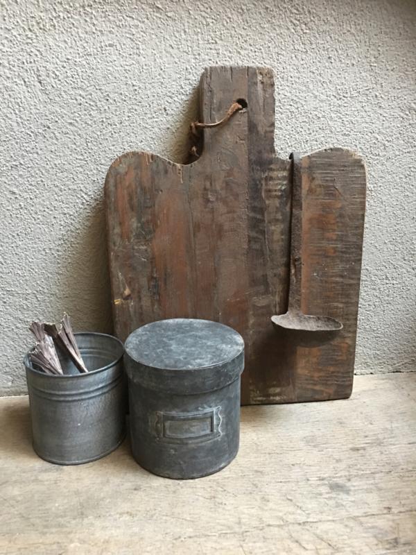 Grijs metalen pot voorraadpot suikerpot blik trommel mini blikje landelijk industrieel voorraadblik trommel