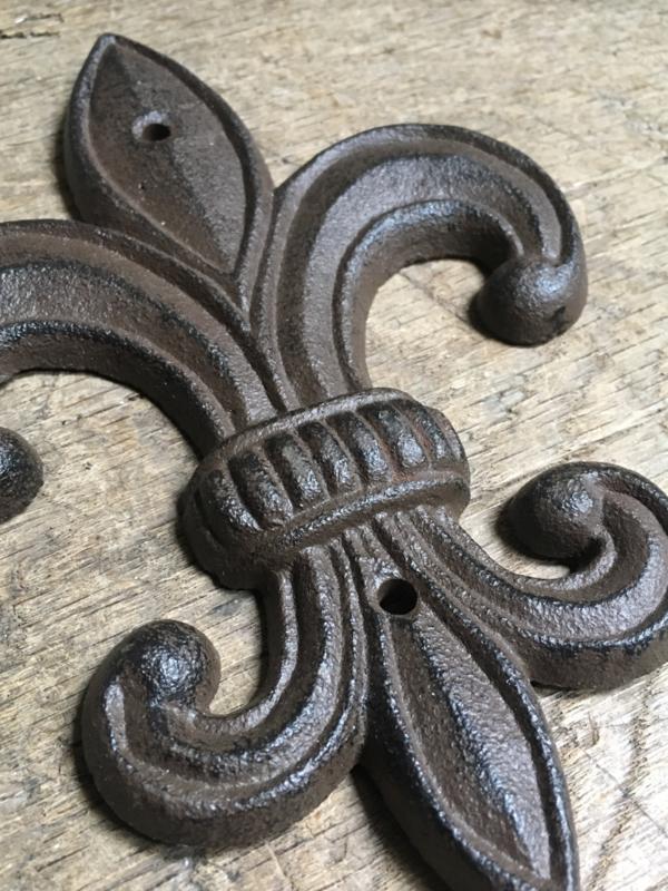 Verrassend Gietijzeren ornament Franse punt lelie muuranker bruin landelijk QO-53