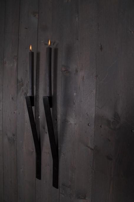 Metalen wandkandelaar strip dinerkaars kandelaar muur landelijk industrieel metaal 50 cm