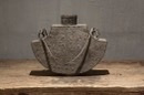 Stoere grijze metalen kruik pot stoer landelijk veldfles grijs