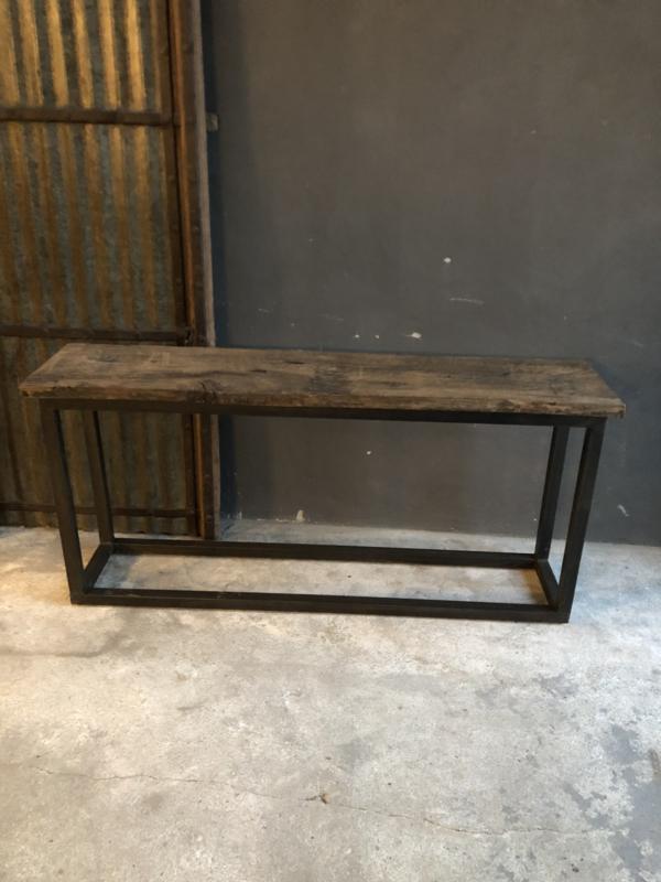 Stoere industriële Sidetable buro bureau 168 x 38 x 76 cm sideboard met stoere dikke oude plank blad metalen onderstel landelijke stijl industrieel stoer