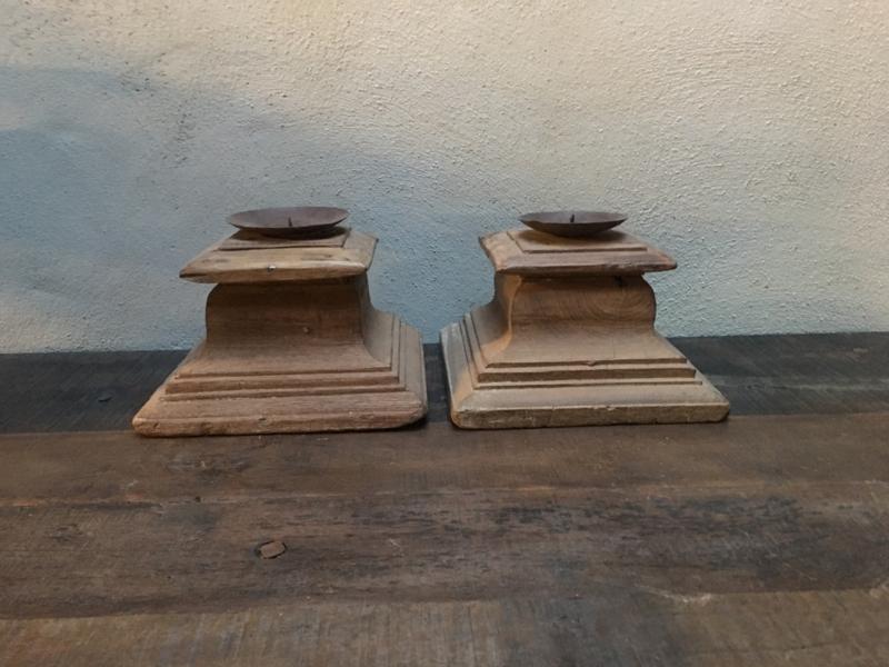 Grote oud houten poer klos kloskandelaar stompkandelaar landelijk stoer robuust vintage