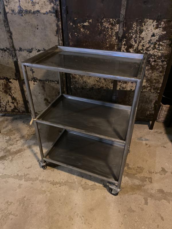 Industrieel metalen trolley keukentrolley trolley karretje kast kastje schap rek op wielen landelijk metaal grijs