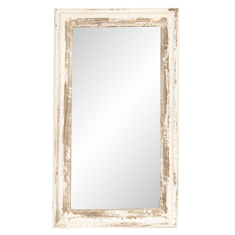 Witte doorgescheurde spiegel landelijk brocant 73 x 42 cm wit naturel hout