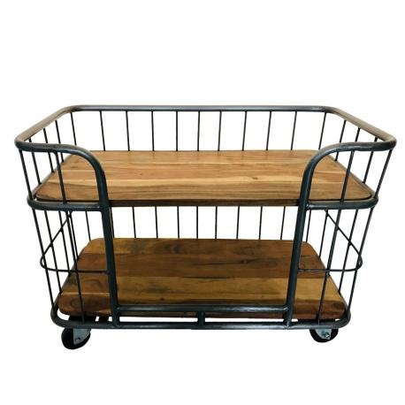Kleine industriële kast trolley kar schap bakkersrek bakkerskar rek metaal grijs houten planken