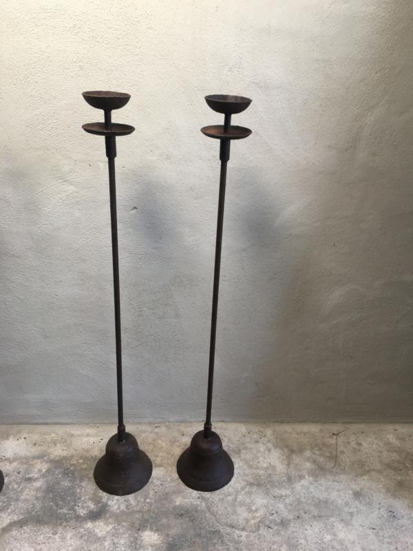 Gietijzeren vloerkandelaars vloerkandelaar 120 cm staand staande kandelaar landelijk roestbruin