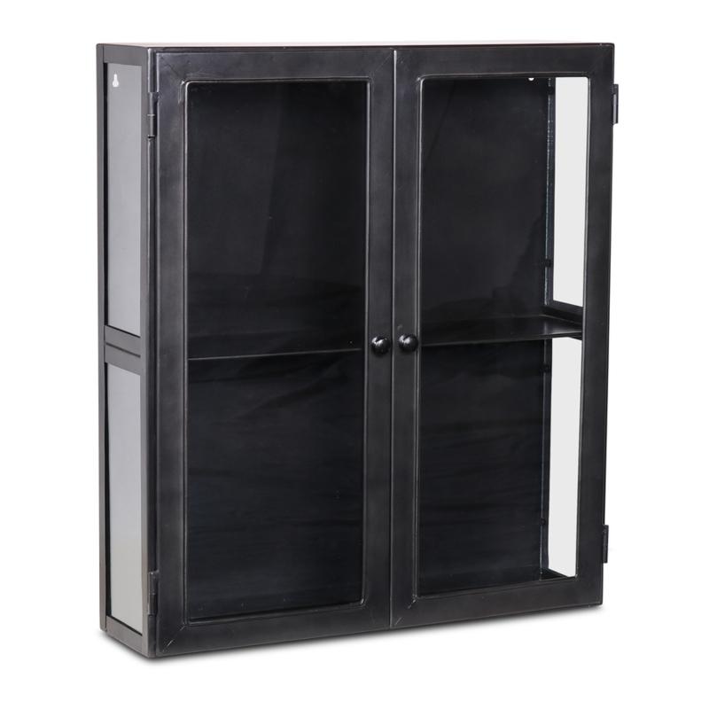 Stoer metalen showkastje wandkastje vitrinekastje zwart antraciet metaal metalen kastje industrieel urban