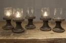 Prachtig glazen bubbel windlicht op vergrijsd houten voet 22 x 10 cm
