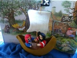Materiaalpakketje Piratenschip met piraten met patroon.