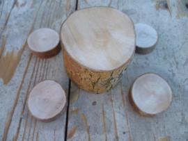 boomstronktafel met 4 krukjes