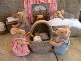 Patroon Babymuisjes bij familie muis