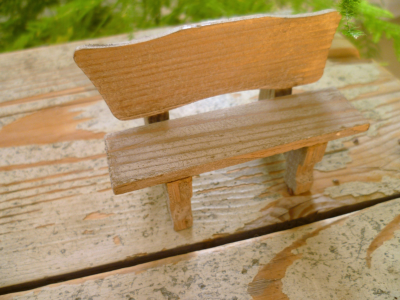 rustic weathered wood bench