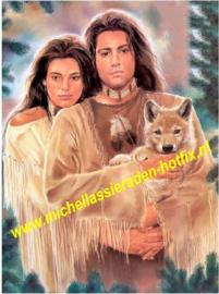 Indianen met welp 50x60 cm