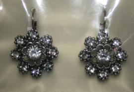 Zilverkleurige oorbellen met chrystal strassteentjes