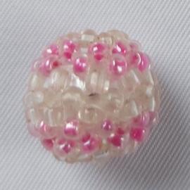 Glaskraal rocailles Rose-wit