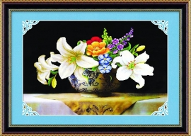 Witte Bloemen gemengd 76x53 cm