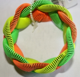 Gevlochten armband Oranje/groen/geel