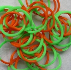 Loombands 2-kleurig Oranje/Groen