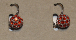 Zilverkleurige oorbellen met oranje strassteentjes