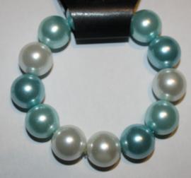 Zachtblauw/aquablauw/wit parel armband