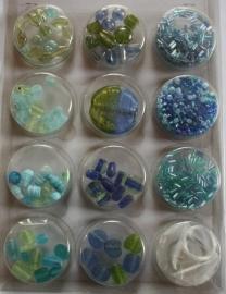 Kralenset Glaskralen Blauw/groen