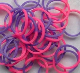 Loombands 2-kleurig Roze/Paars