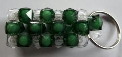 Handgemaakte sleutelhanger Groen/wit