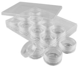 Plexiglas opbergdoos met  12 potjes (10 ml)