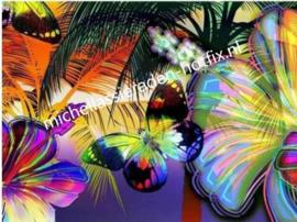 Vlinder op bloemen collorfull