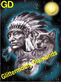 Indiaan en wolven 40x60 cm