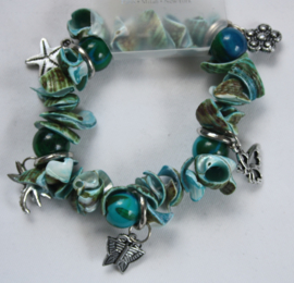 Blauw/groene schelpkralen armband
