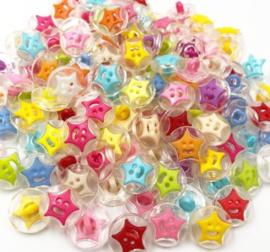 Acryl 15 mm Smiley Star 10 stuks