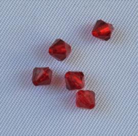 Acryl kraal facet Rood 4x5 mm