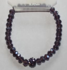 Paarse (Amethyst) facetgeslepen armband met stras accenten