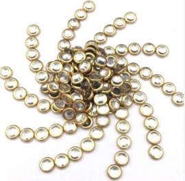 Hotfixstones Gold Rim SS10 Chrystal