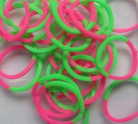 Loombands 2-kleurig Roze/Groen